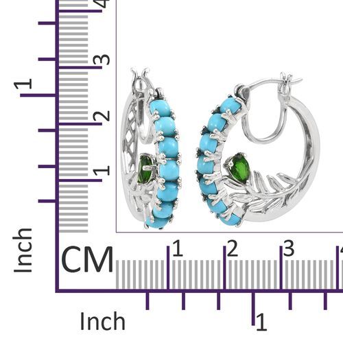 Arizona Sleeping Beauty Turquoise (Cush), Russian Diopside Hoop Earrings (with Clasp Lock) in Platinum Overlay Sterling Silver 5.500 Ct. Silver wt 10.66 Gms.
