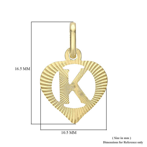 Children Diamond Cut K Initial Heart Pendant in 9K Gold