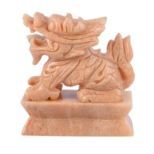 Set of 2 - Handcrafted Serpentine Decorative Pixiu Figurine (Size 11.5X5X11.5 Cm) - Peach