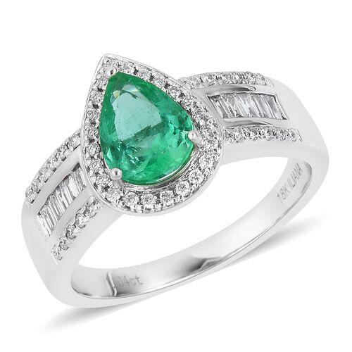 ILIANA 1.58 Ct 4A Boyaca Colombian Emerald and Diamond Ring in 18K White Gold 7 Gms Size P