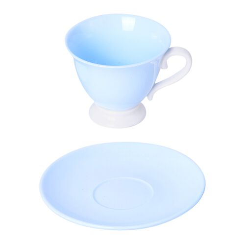 Set of 4 Light Blue Ceramic Tea Cups (9X8CM) with Set of 4 Saucer (14 Cm)