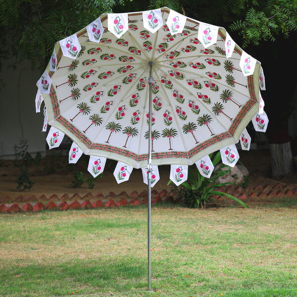 100% Cotton Canvas Hand Block Floral Printed Ethnic Parasols (Size 243x200cm, Dia 212cm) - Off White, Pink & Green