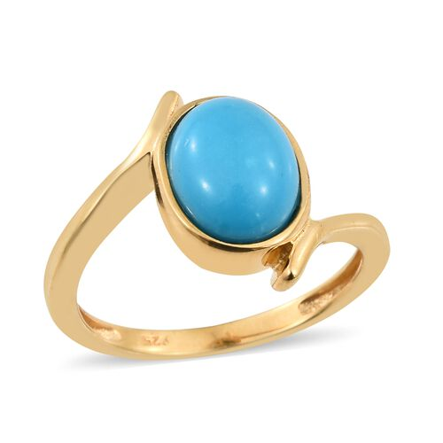 Arizona Sleeping Beauty Turquoise (Ovl) Solitaire Ring in 14K Gold Overlay Sterling Silver 2.250 Ct.