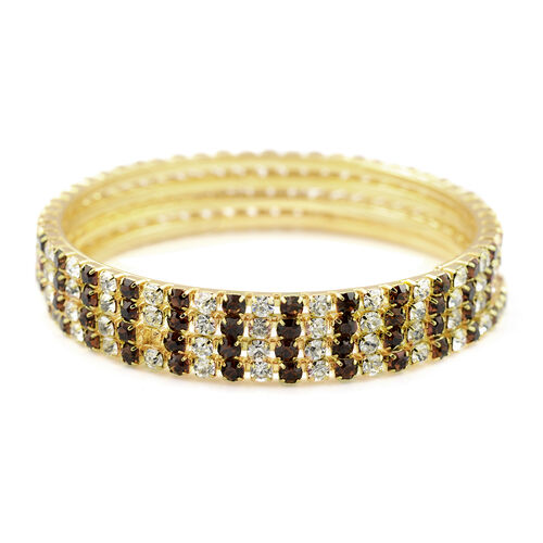 4 Piece Set - Dark Brown Austrian Crystal Bangle (Size 7.5) in Gold Tone