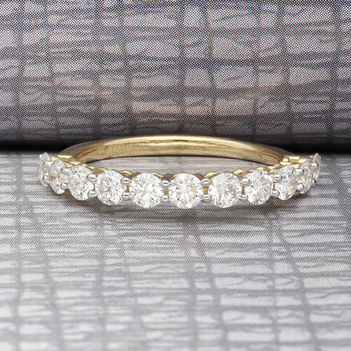ILIANA 18K Yellow Gold Natural IGI Certified Diamond (SI/G-H) Half Eternity Ring 1.00 Ct.