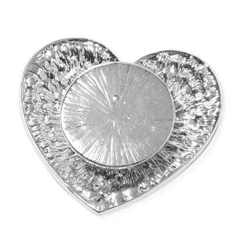 Austrian White Austrian Crystal Heart Brooch with Magnet in Silver Plated