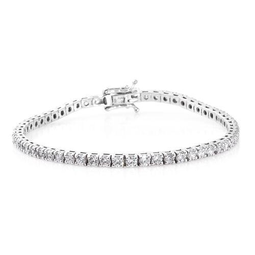 J Franics- Platinum Overlay Sterling Silver (Rnd) Bracelet (Size 7.5) Made with SWAROVSKI ZIRCONIA,