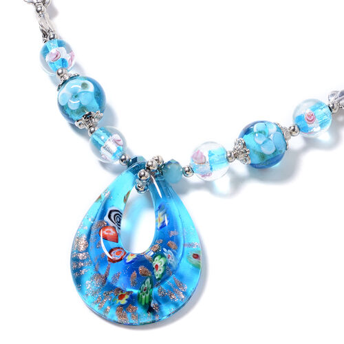 Murano Style Glass, Simulated Blue Topaz, Blue Quartzite and Simulated Mystic Glass Necklace (Size 28 and 2.5 inch Extender)