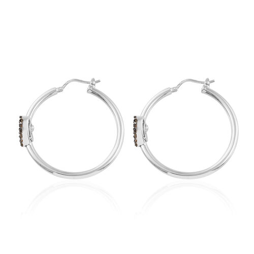 GP Red Diamond (Taper Baguette), Kanchanaburi Blue Sapphire Heart Hoop Earrings (with Clasp) in Platinum Overlay Sterling Silver 0.560 Ct.