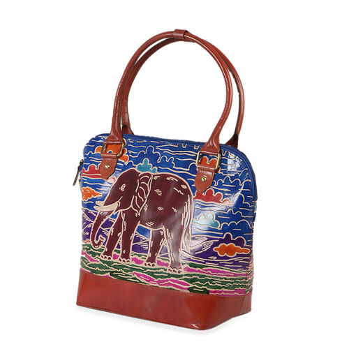 100% Genuine Leather Red, Blue and Multi Colour RFID Blocker Elephant Pattern Handpainted Shoulder Bag (Size 42x30x14 Cm)