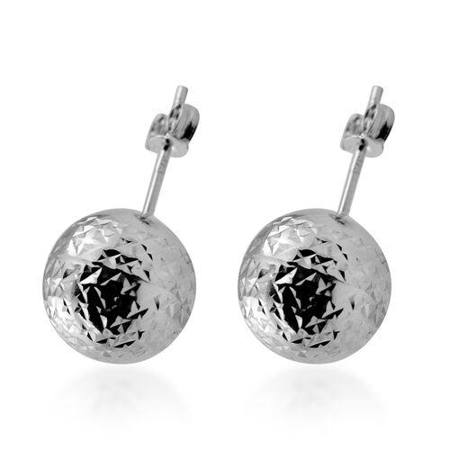 9K White Gold Diamond Cut Stud Earrings (with Push Back) 1.08 Grams