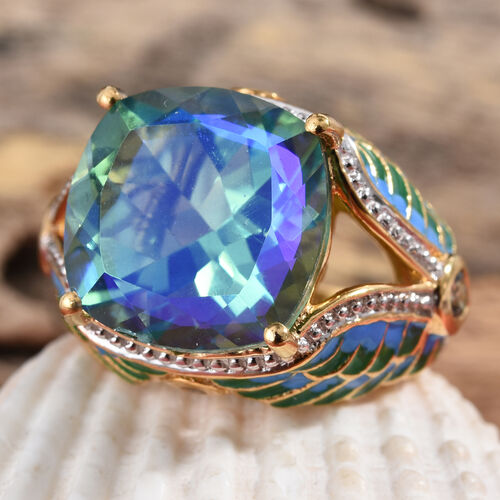 GP Peacock Quartz (Cush 14x14 mm), Green Sapphire and Kanchanaburi Blue Sapphire Ring in 14K Gold Overlay Sterling Silver 10.520  Ct.