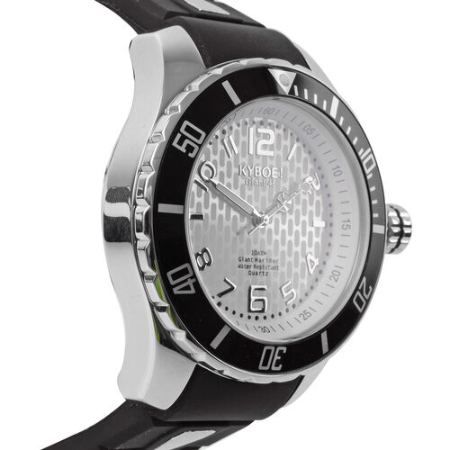 KYBOE Power Collection- Japanese Movement 100M Water Resistance Silver Shine LED Watch in Stainless Steel with Rotating Bezel and Black Strap - 48MM