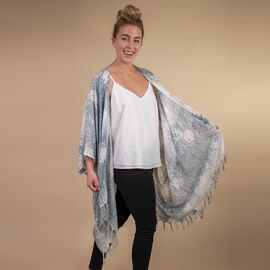 TAMSY 100% Rayon Printed Kimono (One Size ) - White & Grey