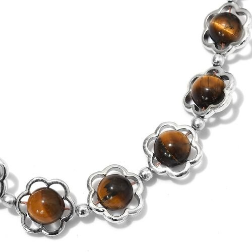 Tigers Eye (Rnd) Floral Necklace (Size 20) in Platinum Plated 67.00 Ct.