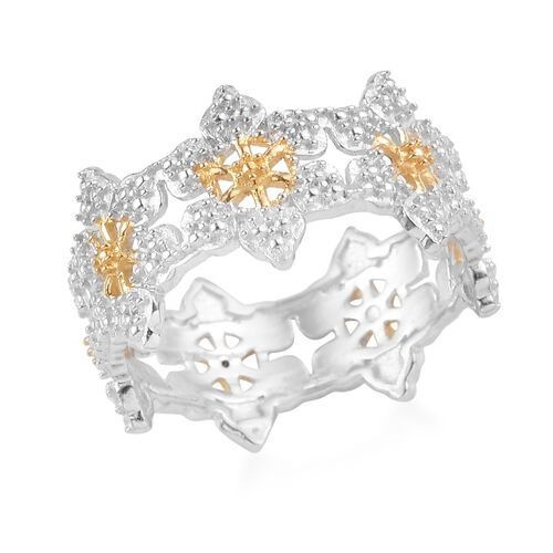 Diamond Snowflake Ring  in Yellow Gold and Platinum Overlay Sterling Silver