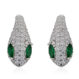 Simulated Diopside (Mrq), Simulated Diamond Serpentine Design Hoop Earrings (with Clasp) in Silver P