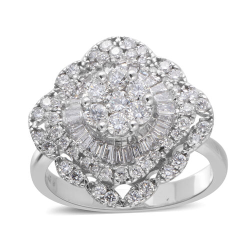 New York Close Out 14K White Gold Diamond (Rnd and Bgt) (I1-I2) Ring 1.400 Ct., Gold wt 5.90 Gms.