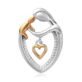 Platinum and Yellow Gold Overlay Sterling Silver Child Mother Love Heart  Pendant