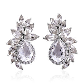 21.76 Ct Petalite and Cambodian Zircon Stud Earrings in Platinum Plated Sterling Silver 8.5 Grams