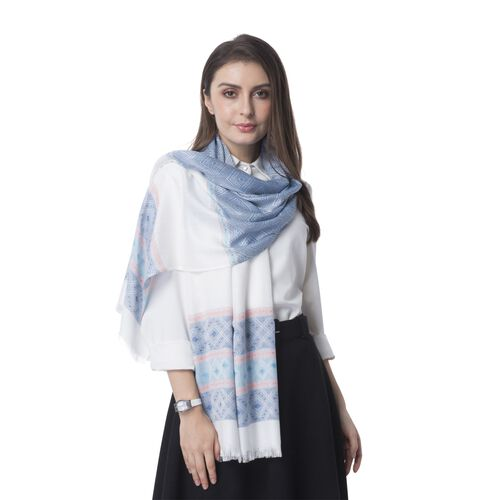 Blue, Sky Blue and Multi Colour Strip and Rhombus Pattern Scarf (Size 182x68 Cm)