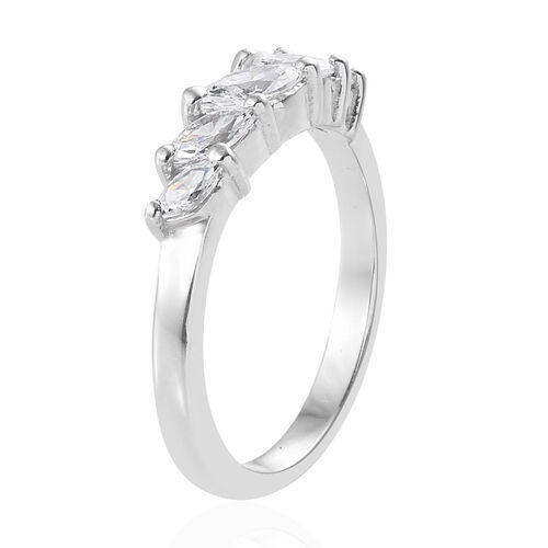 J Francis Platinum Overlay Sterling Silver (Mrq) Five Stone Ring Made with SWAROVSKI ZIRCONIA