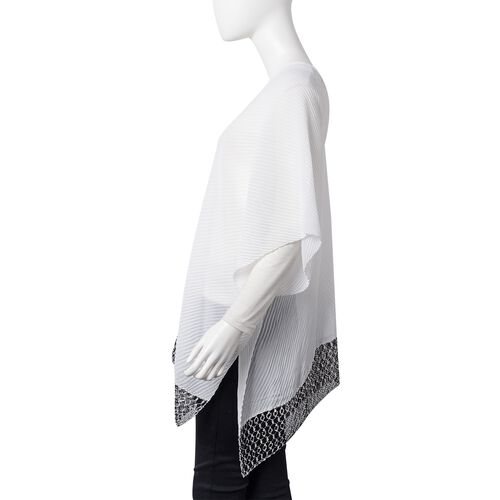 One Time Deal- White and Black Colour Poncho (Size 76x72 Cm)