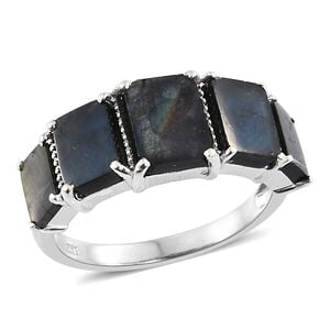 Spectrolite (Bgt 1.75 Ct) 5 Stone Ring in Platinum Overlay Sterling Silver 6.000 Ct.