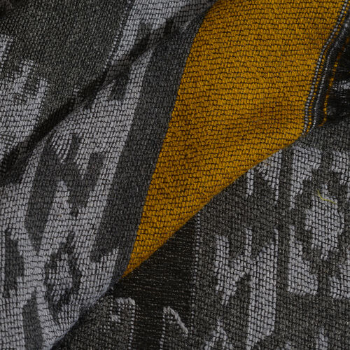 Black, Grey and Yellow Colour Rhombus Pattern Scarf with Fringes (Size 180X70 Cm)