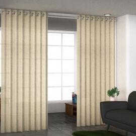 Set of 2 - 100%Cotton Textured Slub Curtain with Eyelets (Size 140x234cm) - Cream