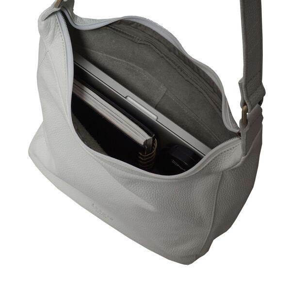 ASSOTS LONDON Bianca Genuine Pebble Grain Leather Slouchy Hobo Bag (Size 23x31x18cm) - White
