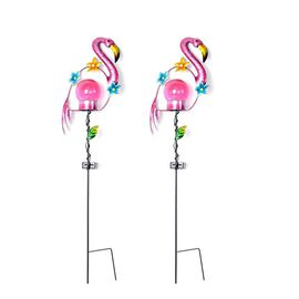 Set of 2 - Solar Powered Flamingo Shape Stake Light (Length 60 Cm) - Pink and Black