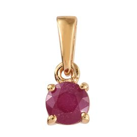 WEBEX- African Ruby (Rnd) Solitaire Pendant in 14K Gold Overlay Sterling Silver 0.750 Ct