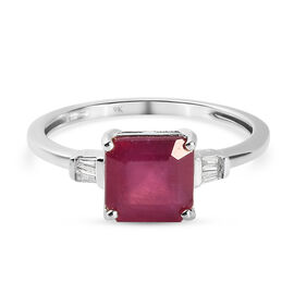 9K White Gold AA African Ruby (FF) and Diamond Ring 2.67
