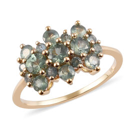 9K Yellow Gold Narsipatnam Alexandrite Boat Cluster Ring 1.50 Ct.