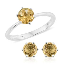 Citrine (Rnd) Solitaire Ring and Stud Earrings (with Push Back) in Sterling Silver 2.750 Ct.