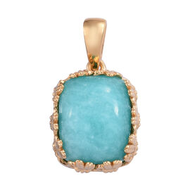 5 Carat Natural Peruvian Amazonite Solitaire Pendant in Gold Plated Sterling Silver