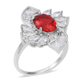 ELANZA Simulated Fire Opal (Ovl 10x8 mm), Simulated Diamond Ring (Size O) in Rhodium Overlay Sterling Silver