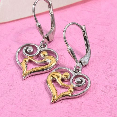Platinum and Yellow Gold Overlay Sterling Silver Lever Back Earrings