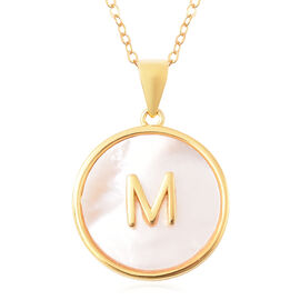 White Mother of Pearl Initial M Pendant with Chain (Size 18) in Gold Overlay Sterling Silver