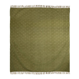 King Size Daisy Jacquard Woven Cotton Chenille Bedspread in Beige and Green Colour 260x240 cm