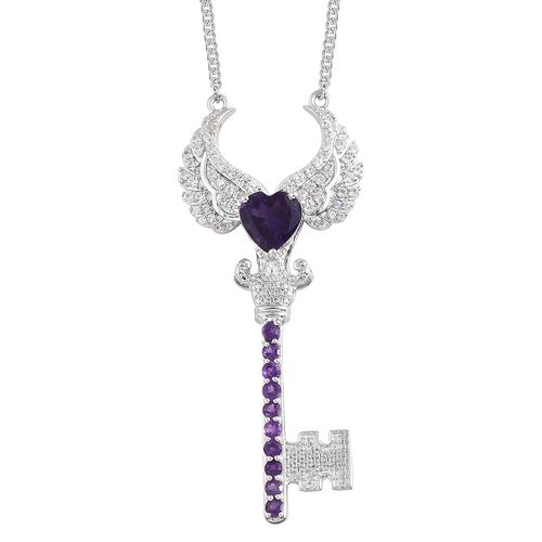 GP Amethyst (Hrt 2.00 Ct), Natural Cambodian Zircon and Kanchanaburi Blue Sapphire Angel Wings Pendant with Chain in Platinum Overlay Sterling Silver 3.750 Ct. Silver wt 13.48 Gms.