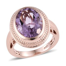 Rose De France Amethyst (Ovl 14x10 mm) Ring in Rose Gold Overlay Sterling Silver 5.25 Ct.