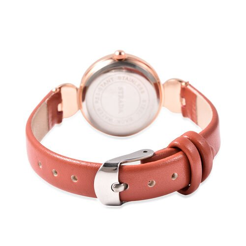 2 Piece Set - STRADA Japanese Movement Red Jasper and White Austrian Crystal Studded Water Resistant Watch with Red Strap and Pendant with Chain (Size 28) in Rose Gold Tone 16.00 Ct.