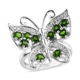 1.35 Ct Russian Diopside and Zircon Butterfly Ring in Platinum Plated Sterling Silver 4.79 Grams