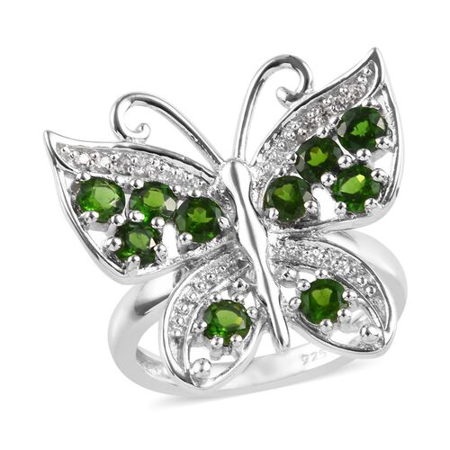 Designer Inspired - Russian Diopside (Rnd), Natural Cambodian Zircon Butterfly Ring in Platinum Over