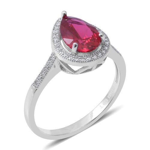 ELANZA Simulated Ruby (Pear 10X7mm), Simulated Diamond Ring in Rhodium Overlay Sterling Silver
