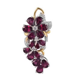 Rhodolite Garnet (Pear), Natural Cambodian Zircon Floral Pendant in Platinum and Yellow Gold Overlay