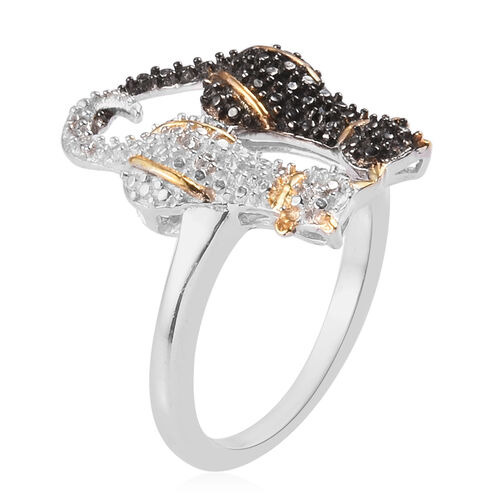White and Black Diamond Twin Cat Ring in Platinum and Yellow Gold Overlay and Black Plating Sterling Silver Ring