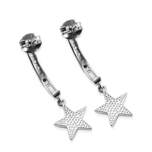 J Francis - Platinum Overlay Sterling Silver (Rnd) Star Charm Earrings (with Push Back) Made with SWAROVSKI ZIRCONIA